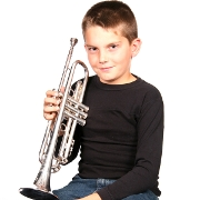 Little Boy Playing Trumpet