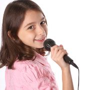 Little Girl Singing In Microphone