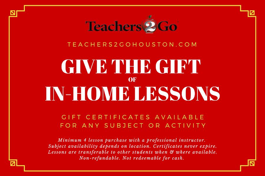 Teachers 2 Go Lessons In Your Home Gift Certificate