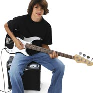 Teenage Boy Playing Electric Guitar
